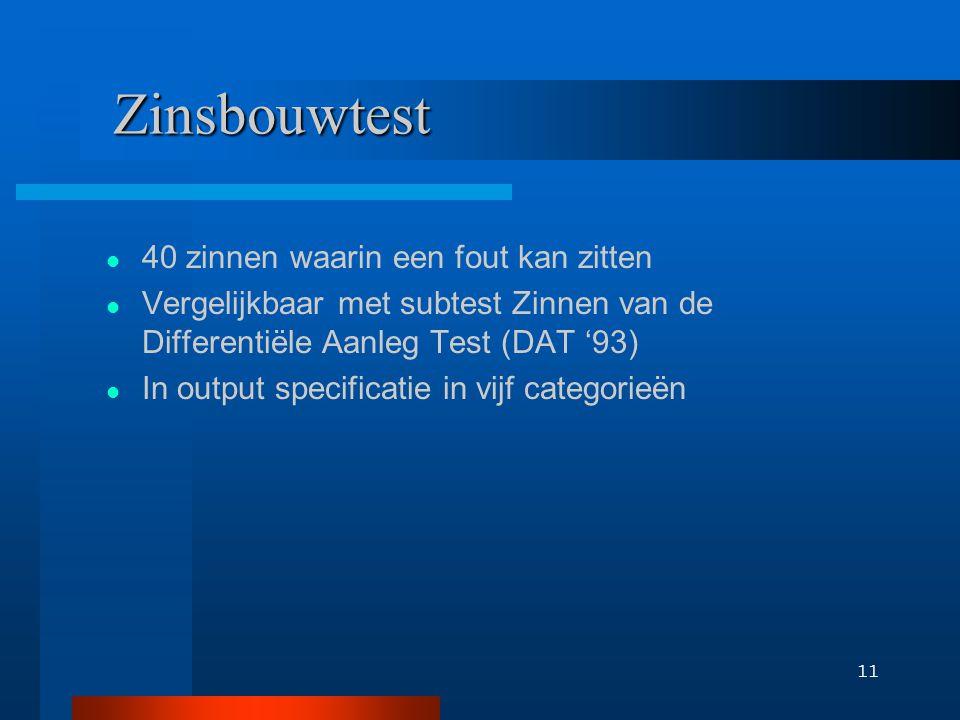 11 Zinsbouwtest 40 zinnen waarin een fout kan zitten Vergelijkbaar met subtest Zinnen van de Differentiële Aanleg Test (DAT '93) In output specificati