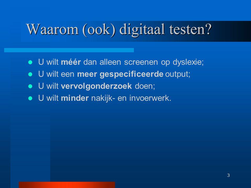 4 Nadelen van digitaal testen afhankelijkheid van systeembeheer; invoeren van leerlingen kost tijd; computerlokaal nodig met goede computers; digitale testen kosten geld.