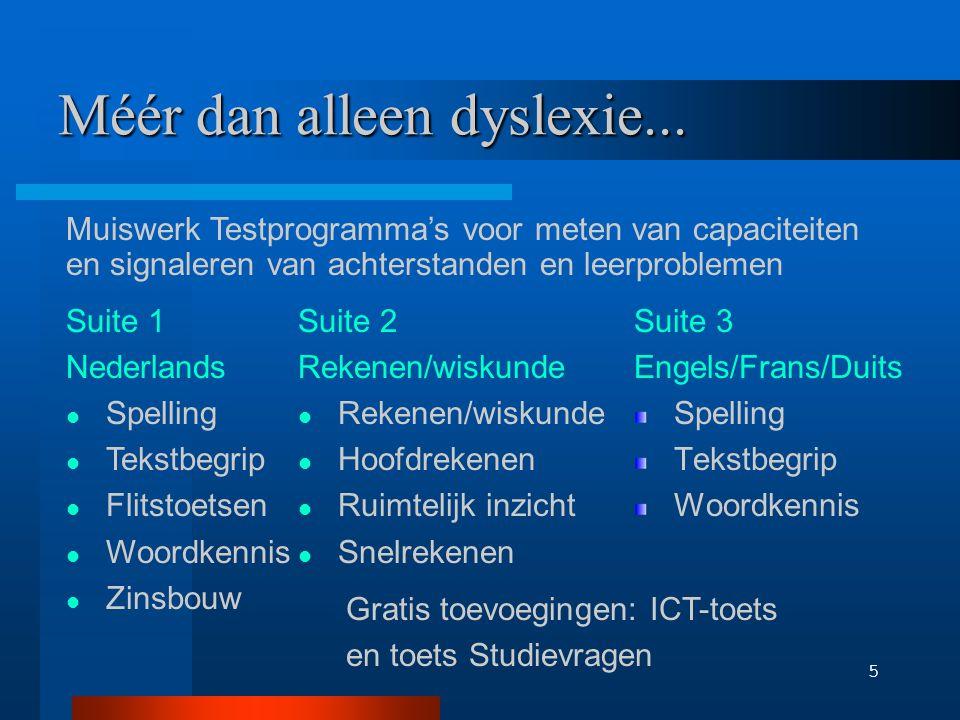 6 Muiswerk Spellingtest Woorden typen in context ; Geluid via kop-telefoon; Duur 10 minuten; Output: presentatie van fouten en specificatie in luister-, regel-, en inprentspelling.