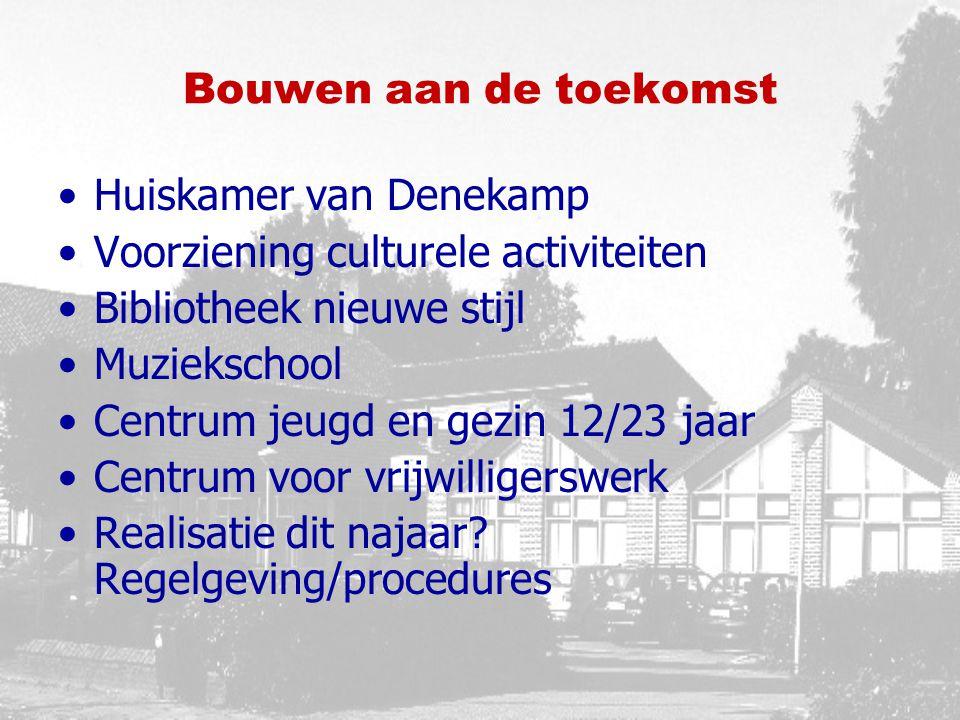 Bouwen aan de toekomst Huiskamer van Denekamp Voorziening culturele activiteiten Bibliotheek nieuwe stijl Muziekschool Centrum jeugd en gezin 12/23 jaar Centrum voor vrijwilligerswerk Realisatie dit najaar.