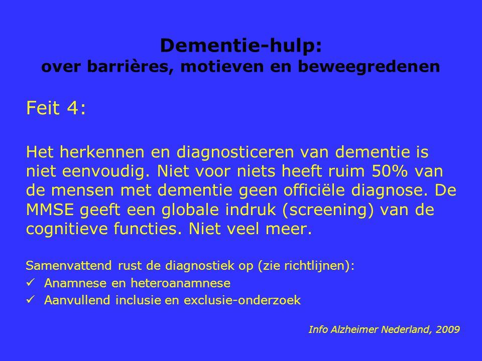 Dementie-hulp: over barrières, motieven en beweegredenen Feit 4: Het herkennen en diagnosticeren van dementie is niet eenvoudig. Niet voor niets heeft