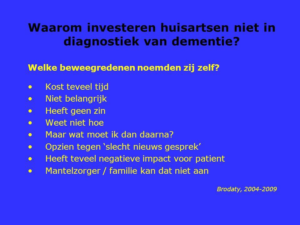 Waarom investeren huisartsen niet in diagnostiek van dementie? Welke beweegredenen noemden zij zelf? Kost teveel tijd Niet belangrijk Heeft geen zin W