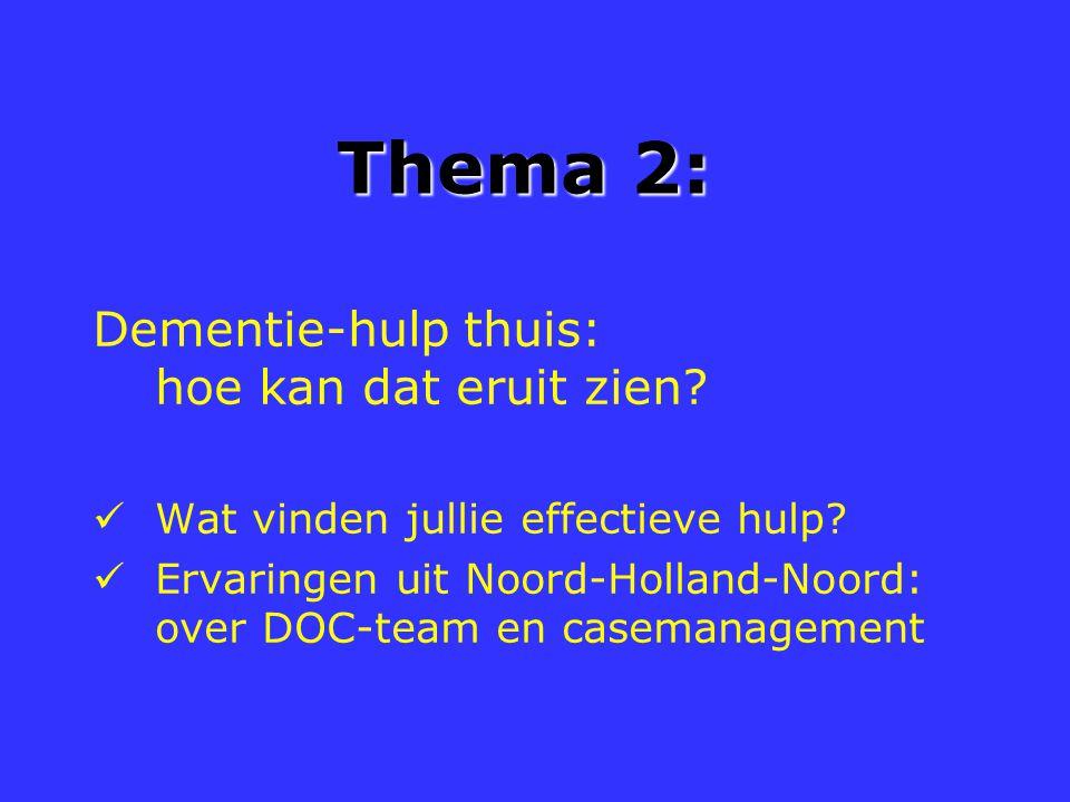 Thema 2: Dementie-hulp thuis: hoe kan dat eruit zien? Wat vinden jullie effectieve hulp? Ervaringen uit Noord-Holland-Noord: over DOC-team en casemana