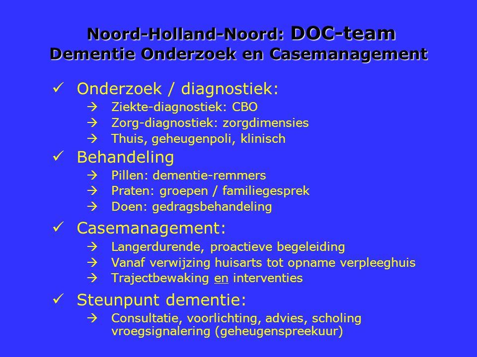 Noord-Holland-Noord: DOC-team Dementie Onderzoek en Casemanagement Noord-Holland-Noord: DOC-team Dementie Onderzoek en Casemanagement Onderzoek / diag
