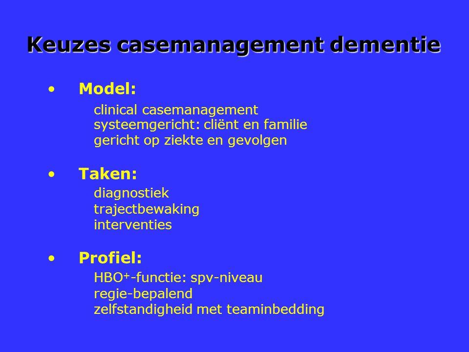 Keuzes casemanagement dementie Model: clinical casemanagement systeemgericht: cliënt en familie gericht op ziekte en gevolgen Taken: diagnostiek traje