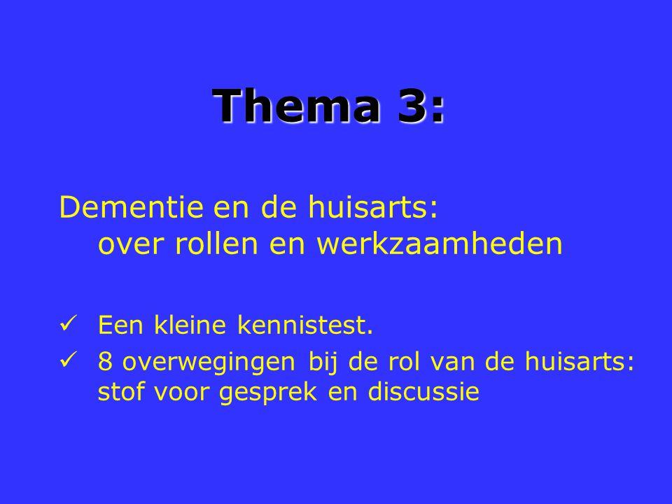 Thema 3: Dementie en de huisarts: over rollen en werkzaamheden Een kleine kennistest. 8 overwegingen bij de rol van de huisarts: stof voor gesprek en