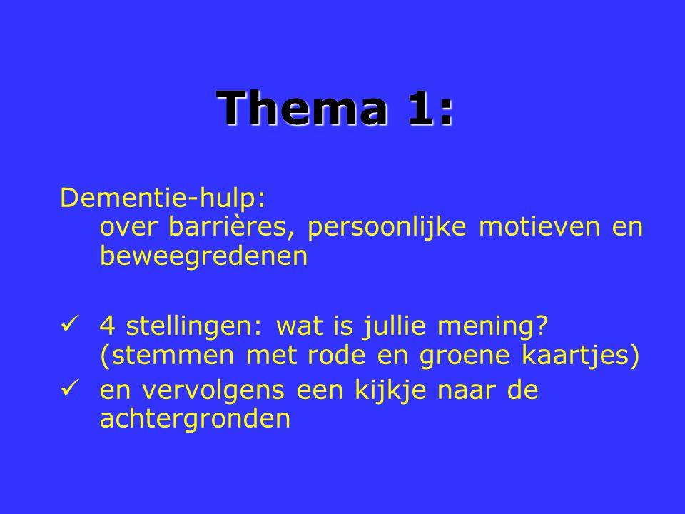 Thema 1: Dementie-hulp: over barrières, persoonlijke motieven en beweegredenen 4 stellingen: wat is jullie mening? (stemmen met rode en groene kaartje