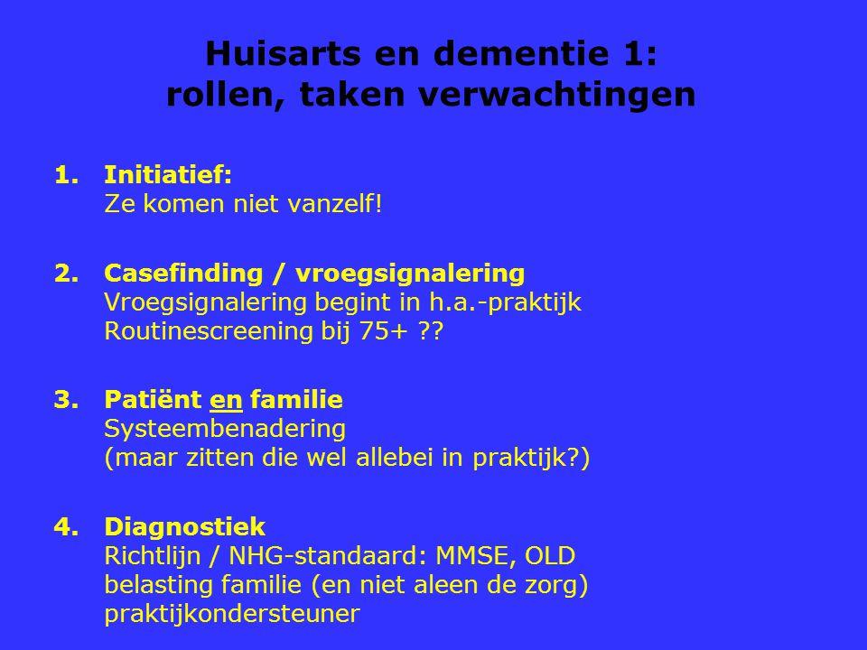 Huisarts en dementie 1: rollen, taken verwachtingen 1.Initiatief: Ze komen niet vanzelf! 2.Casefinding / vroegsignalering Vroegsignalering begint in h