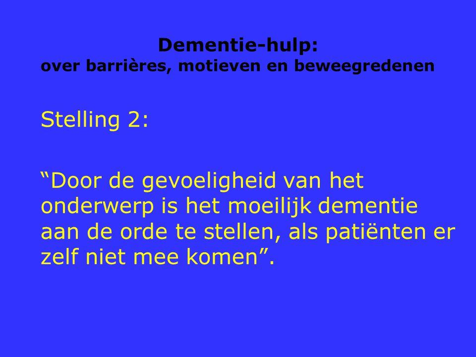 """Dementie-hulp: over barrières, motieven en beweegredenen Stelling 2: """"Door de gevoeligheid van het onderwerp is het moeilijk dementie aan de orde te s"""