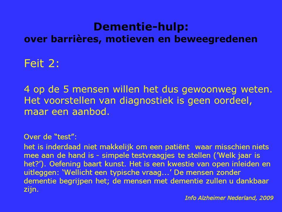 Dementie-hulp: over barrières, motieven en beweegredenen Feit 2: 4 op de 5 mensen willen het dus gewoonweg weten. Het voorstellen van diagnostiek is g