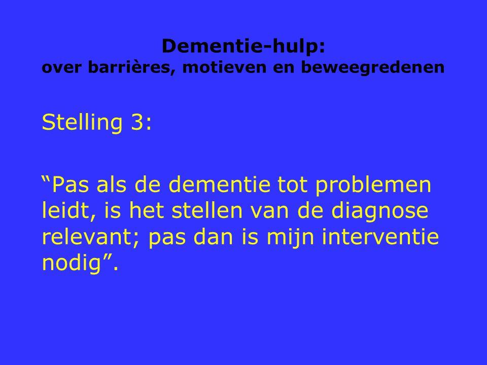 """Dementie-hulp: over barrières, motieven en beweegredenen Stelling 3: """"Pas als de dementie tot problemen leidt, is het stellen van de diagnose relevant"""