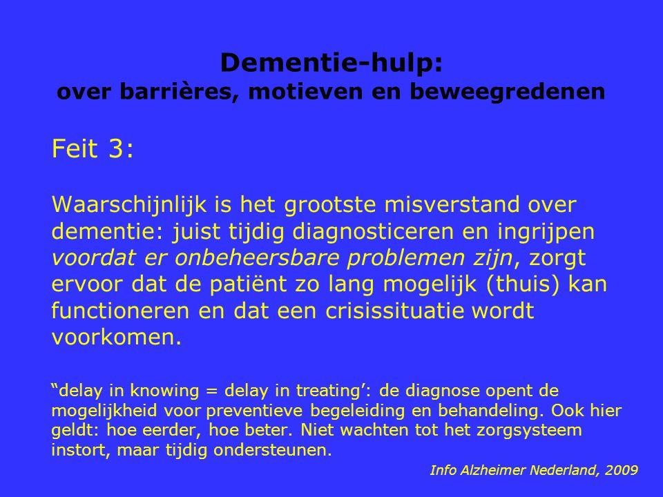 Dementie-hulp: over barrières, motieven en beweegredenen Feit 3: Waarschijnlijk is het grootste misverstand over dementie: juist tijdig diagnosticeren