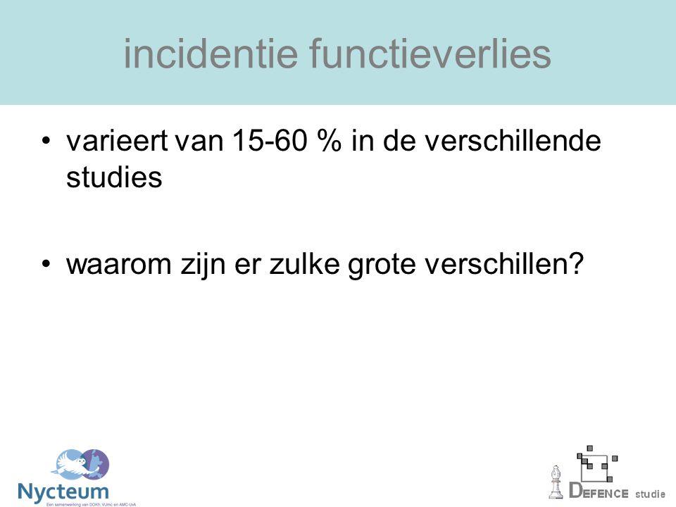 incidentie functieverlies varieert van 15-60 % in de verschillende studies waarom zijn er zulke grote verschillen?