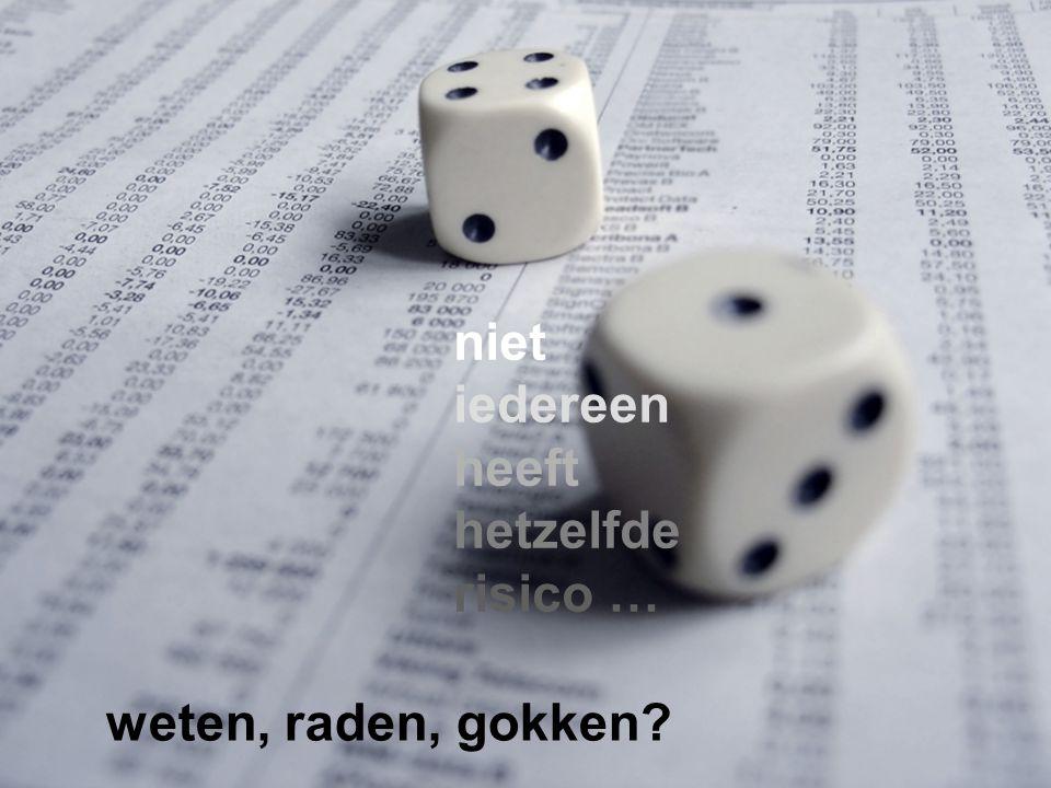 weten, raden, gokken? niet iedereen heeft hetzelfde risico …