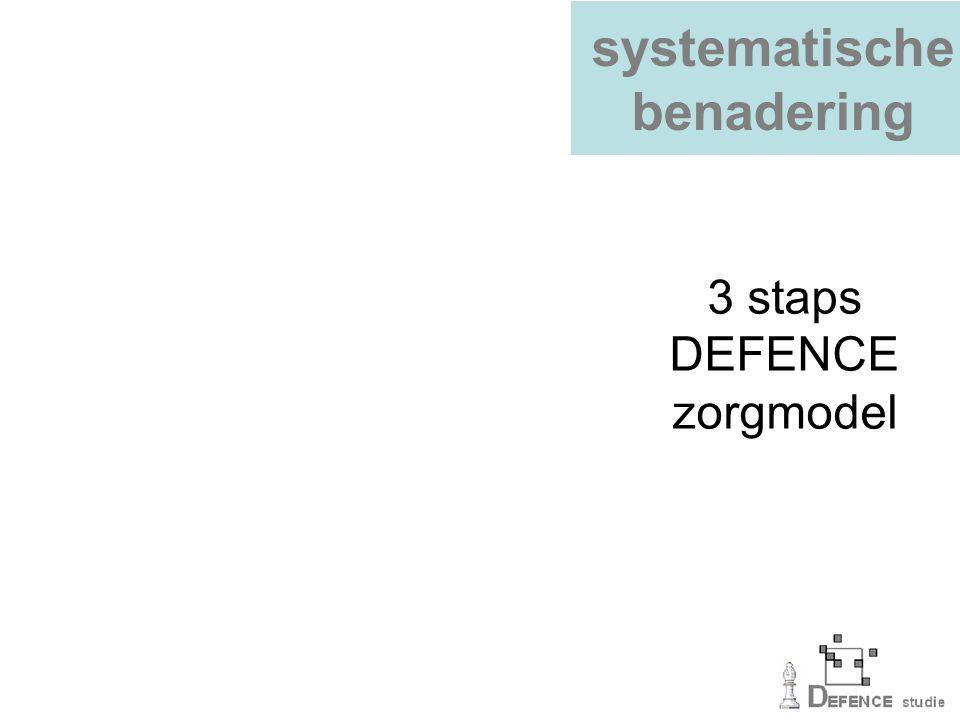 systematische benadering 3 staps DEFENCE zorgmodel