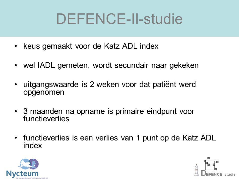 DEFENCE-II-studie keus gemaakt voor de Katz ADL index wel IADL gemeten, wordt secundair naar gekeken uitgangswaarde is 2 weken voor dat patiënt werd opgenomen 3 maanden na opname is primaire eindpunt voor functieverlies functieverlies is een verlies van 1 punt op de Katz ADL index