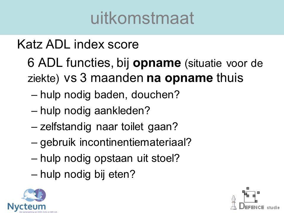 uitkomstmaat Katz ADL index score 6 ADL functies, bij opname (situatie voor de ziekte) vs 3 maanden na opname thuis –hulp nodig baden, douchen.