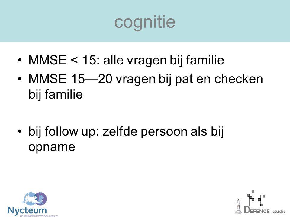 cognitie MMSE < 15: alle vragen bij familie MMSE 15—20 vragen bij pat en checken bij familie bij follow up: zelfde persoon als bij opname