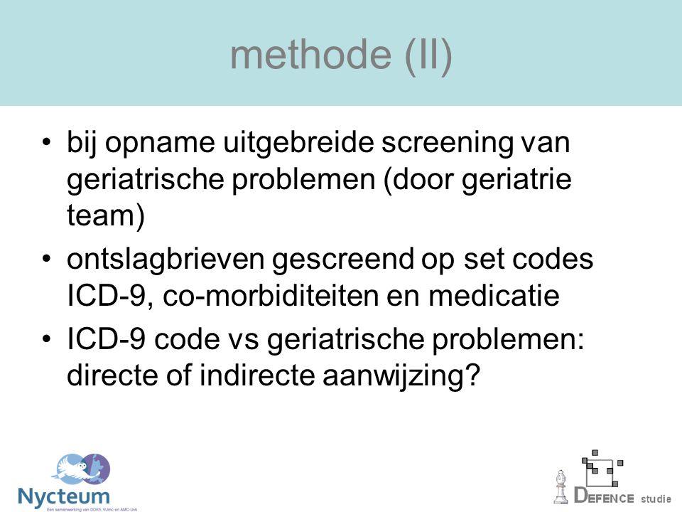methode (II) bij opname uitgebreide screening van geriatrische problemen (door geriatrie team) ontslagbrieven gescreend op set codes ICD-9, co-morbiditeiten en medicatie ICD-9 code vs geriatrische problemen: directe of indirecte aanwijzing?