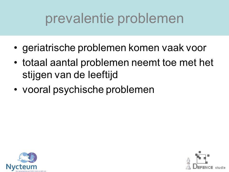 prevalentie problemen geriatrische problemen komen vaak voor totaal aantal problemen neemt toe met het stijgen van de leeftijd vooral psychische problemen
