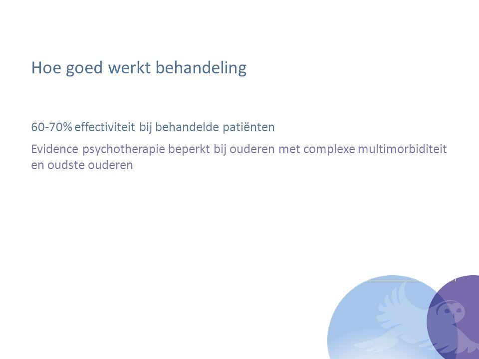 Hoe goed werkt behandeling 60-70% effectiviteit bij behandelde patiënten Evidence psychotherapie beperkt bij ouderen met complexe multimorbiditeit en oudste ouderen