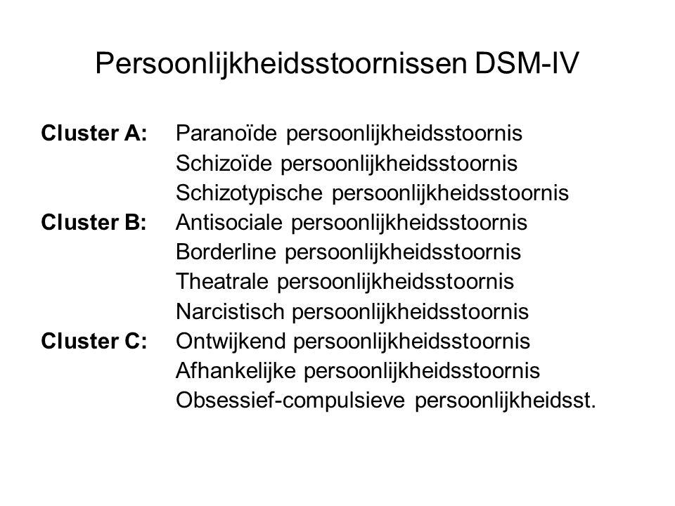 Persoonlijkheidsstoornissen DSM-IV Cluster A: Paranoïde persoonlijkheidsstoornis Schizoïde persoonlijkheidsstoornis Schizotypische persoonlijkheidsstoornis Cluster B:Antisociale persoonlijkheidsstoornis Borderline persoonlijkheidsstoornis Theatrale persoonlijkheidsstoornis Narcistisch persoonlijkheidsstoornis Cluster C:Ontwijkend persoonlijkheidsstoornis Afhankelijke persoonlijkheidsstoornis Obsessief-compulsieve persoonlijkheidsst.