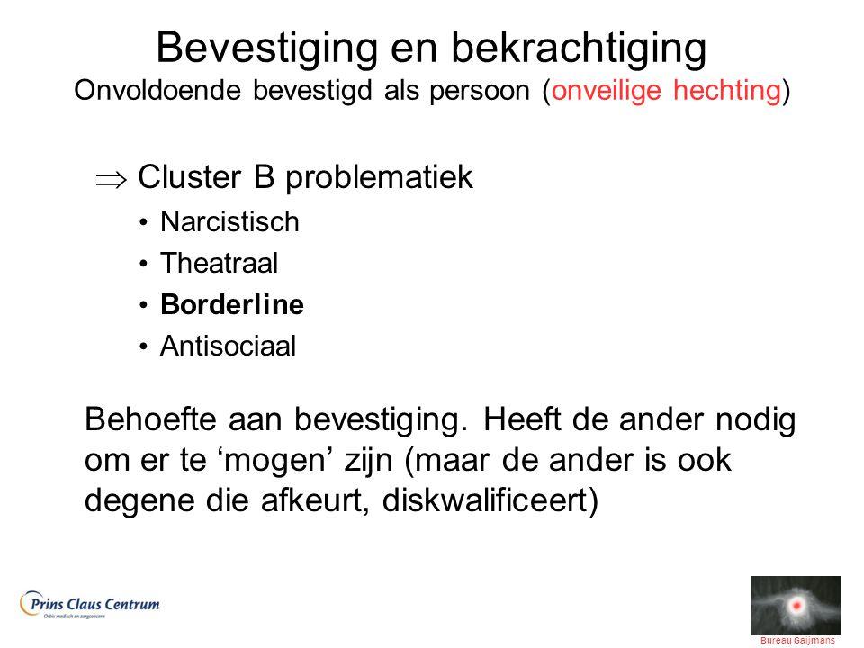 Bevestiging en bekrachtiging Onvoldoende bevestigd als persoon (onveilige hechting)  Cluster B problematiek Narcistisch Theatraal Borderline Antisociaal Behoefte aan bevestiging.