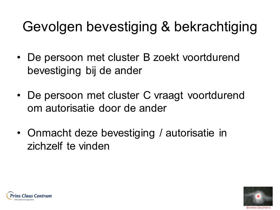 Gevolgen bevestiging & bekrachtiging De persoon met cluster B zoekt voortdurend bevestiging bij de ander De persoon met cluster C vraagt voortdurend o