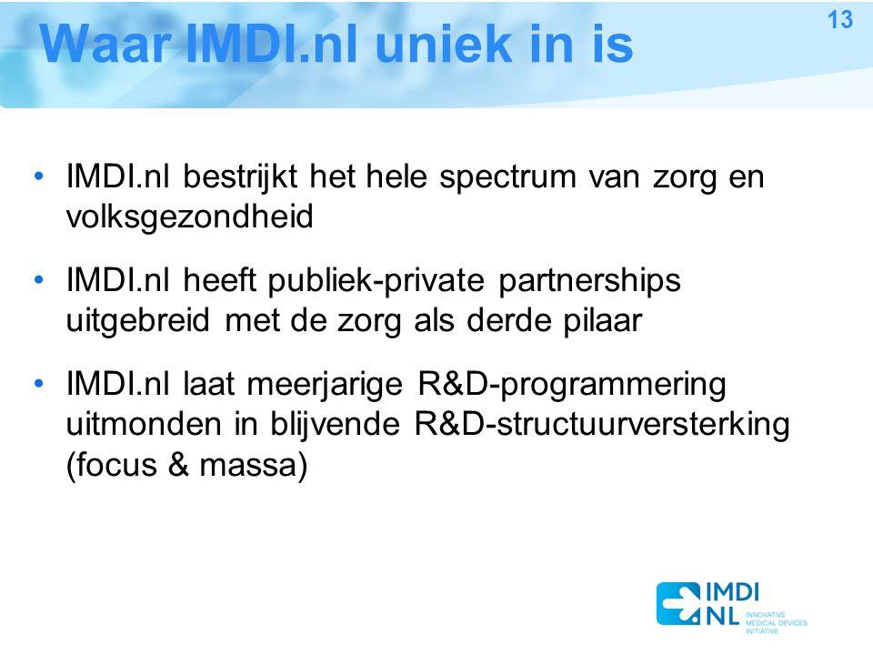 Waar IMDI.nl uniek in is IMDI.nl bestrijkt het hele spectrum van zorg en volksgezondheid IMDI.nl heeft publiek-private partnerships uitgebreid met de zorg als derde pilaar IMDI.nl laat meerjarige R&D-programmering uitmonden in blijvende R&D-structuurversterking (focus & massa) 13