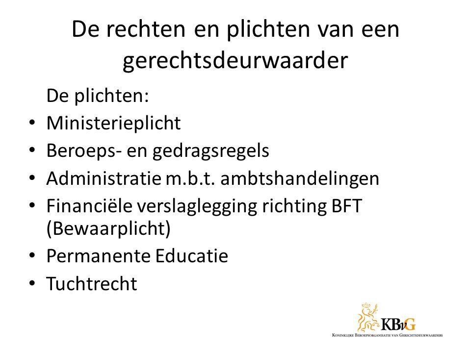De rechten en plichten van een gerechtsdeurwaarder De plichten: Ministerieplicht Beroeps- en gedragsregels Administratie m.b.t.