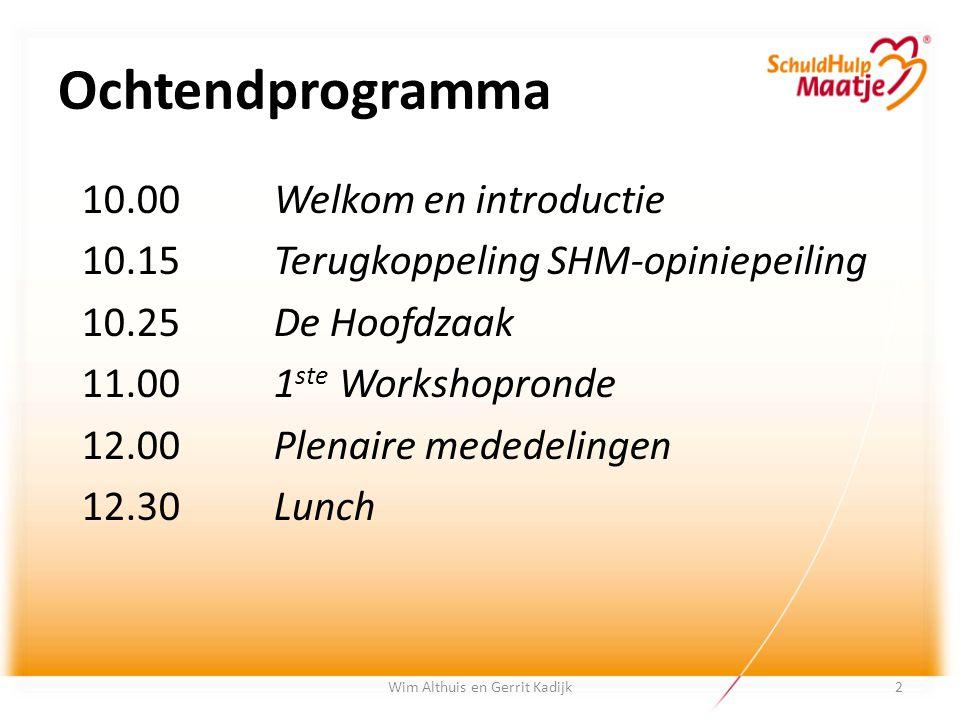 Wim Althuis en Gerrit Kadijk Ochtendprogramma 10.00Welkom en introductie 10.15Terugkoppeling SHM-opiniepeiling 10.25De Hoofdzaak 11.001 ste Workshopro