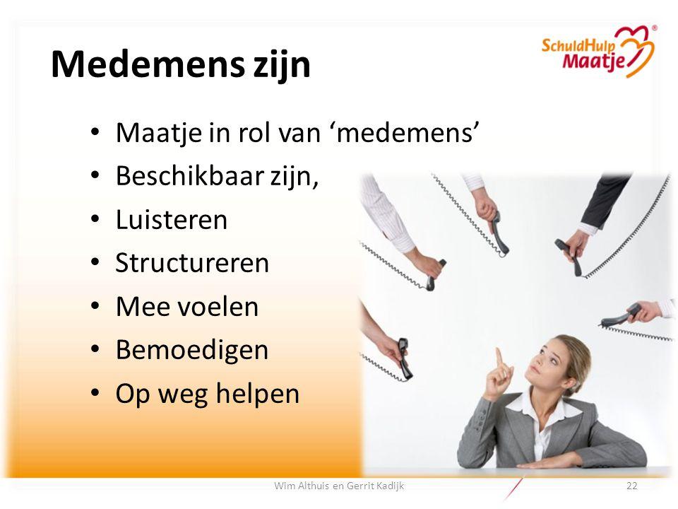 Medemens zijn Maatje in rol van 'medemens' Beschikbaar zijn, Luisteren Structureren Mee voelen Bemoedigen Op weg helpen Wim Althuis en Gerrit Kadijk22