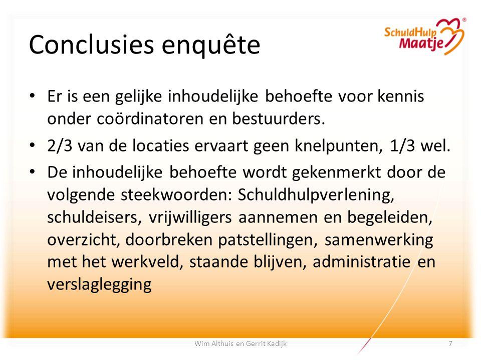 Conclusies enquête Wim Althuis en Gerrit Kadijk Er is een gelijke inhoudelijke behoefte voor kennis onder coördinatoren en bestuurders. 2/3 van de loc