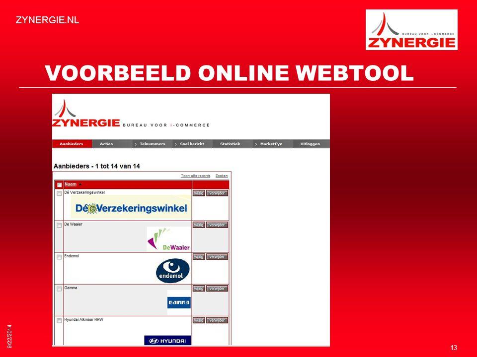 9/22/2014 ZYNERGIE.NL 13 VOORBEELD ONLINE WEBTOOL