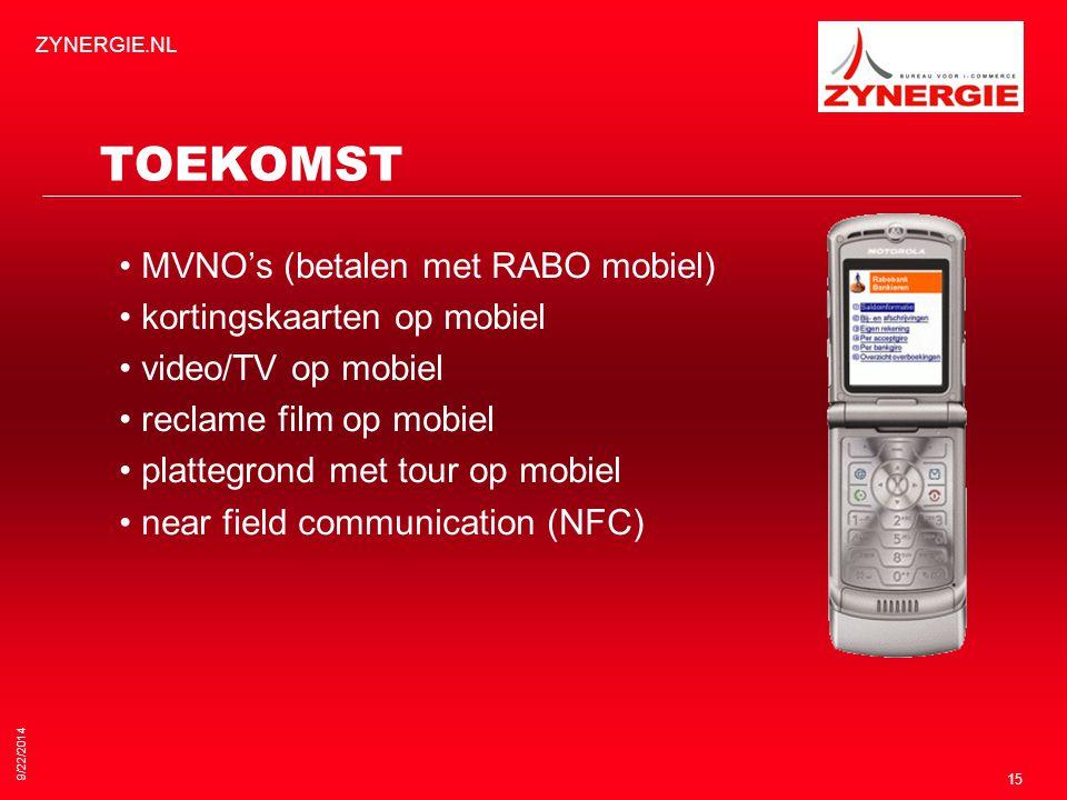 9/22/2014 ZYNERGIE.NL 15 TOEKOMST MVNO's (betalen met RABO mobiel) kortingskaarten op mobiel video/TV op mobiel reclame film op mobiel plattegrond met tour op mobiel near field communication (NFC)