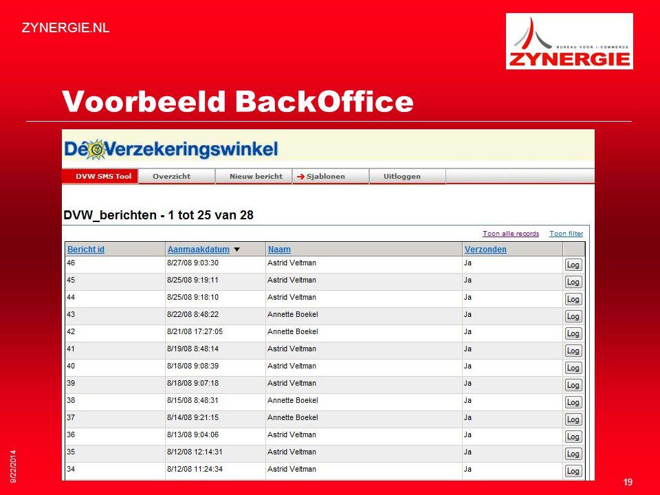 Voorbeeld BackOffice 9/22/2014 ZYNERGIE.NL 19