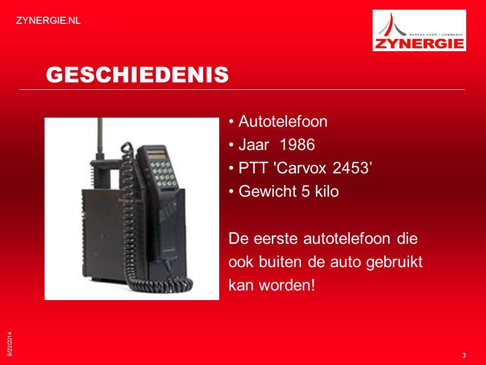 9/22/2014 ZYNERGIE.NL 3 GESCHIEDENIS Autotelefoon Jaar 1986 PTT Carvox 2453' Gewicht 5 kilo De eerste autotelefoon die ook buiten de auto gebruikt kan worden!