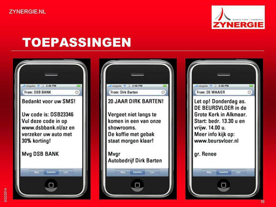 TOEPASSINGEN 9/22/2014 ZYNERGIE.NL 10
