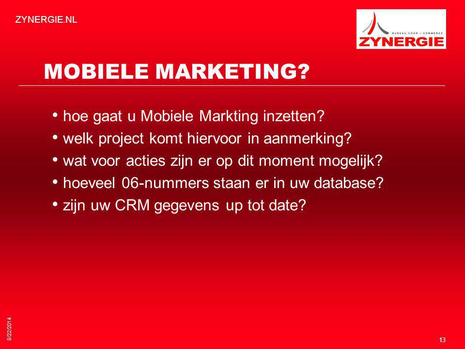 9/22/2014 ZYNERGIE.NL 13 MOBIELE MARKETING. hoe gaat u Mobiele Markting inzetten.