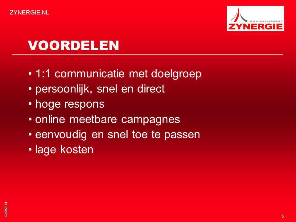 9/22/2014 ZYNERGIE.NL 5 VOORDELEN 1:1 communicatie met doelgroep persoonlijk, snel en direct hoge respons online meetbare campagnes eenvoudig en snel toe te passen lage kosten