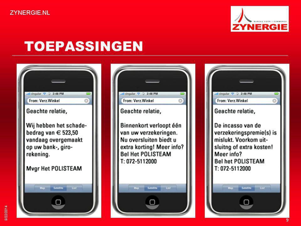 TOEPASSINGEN 9/22/2014 ZYNERGIE.NL 9