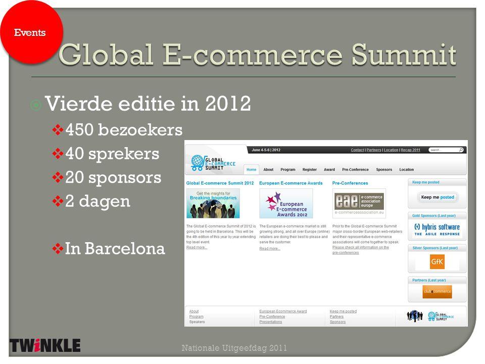  Vierde editie in 2012  450 bezoekers  40 sprekers  20 sponsors  2 dagen  In Barcelona Nationale Uitgeefdag 2011 Events
