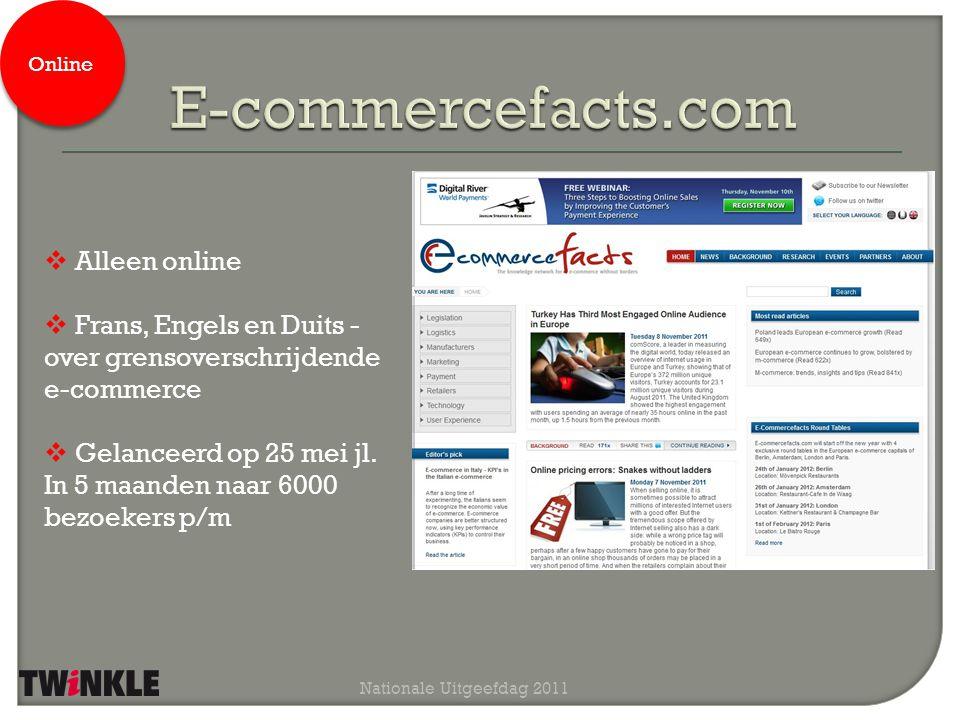 Nationale Uitgeefdag 2011  Alleen online  Frans, Engels en Duits - over grensoverschrijdende e-commerce  Gelanceerd op 25 mei jl. In 5 maanden naar