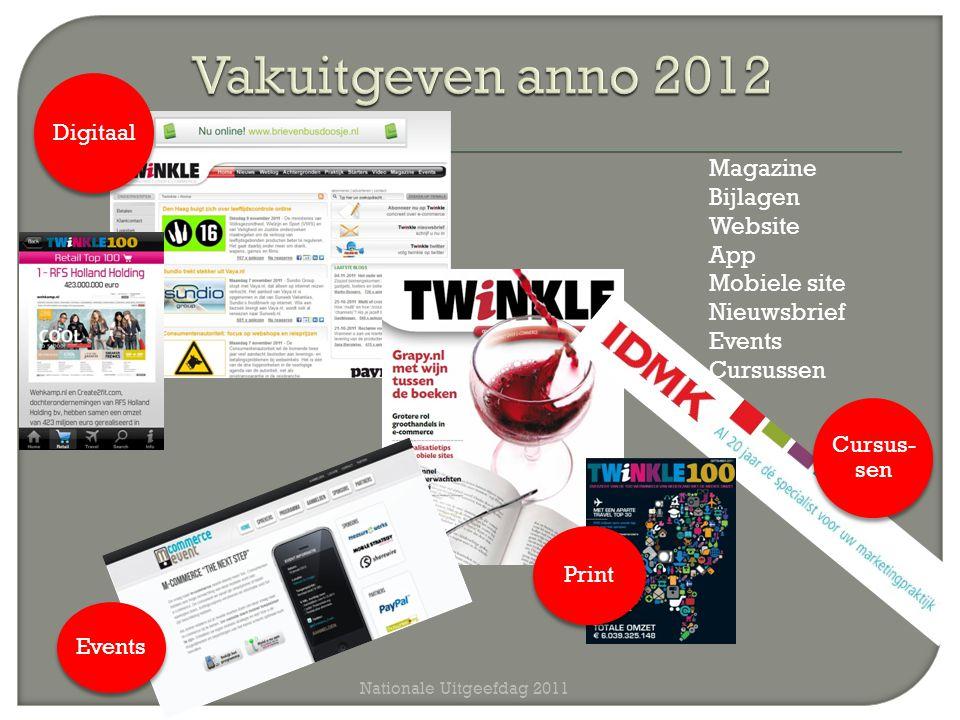 Nationale Uitgeefdag 2011 Magazine Bijlagen Website App Mobiele site Nieuwsbrief Events Cursussen Events Digitaal Print Cursus- sen