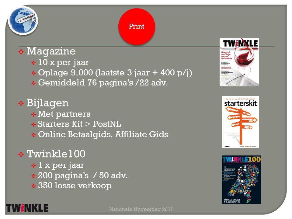  Magazine  10 x per jaar  Oplage 9.000 (laatste 3 jaar + 400 p/j)  Gemiddeld 76 pagina's /22 adv.  Bijlagen  Met partners  Starters Kit > PostN