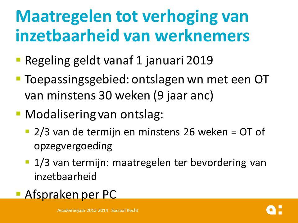  Regeling geldt vanaf 1 januari 2019  Toepassingsgebied: ontslagen wn met een OT van minstens 30 weken (9 jaar anc)  Modalisering van ontslag:  2/
