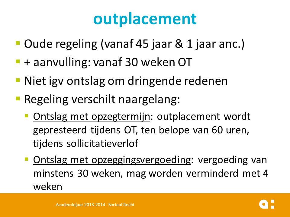  Oude regeling (vanaf 45 jaar & 1 jaar anc.)  + aanvulling: vanaf 30 weken OT  Niet igv ontslag om dringende redenen  Regeling verschilt naargelan