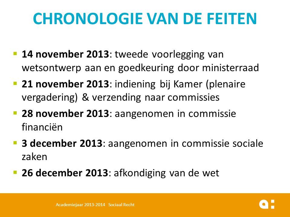  14 november 2013: tweede voorlegging van wetsontwerp aan en goedkeuring door ministerraad  21 november 2013: indiening bij Kamer (plenaire vergader