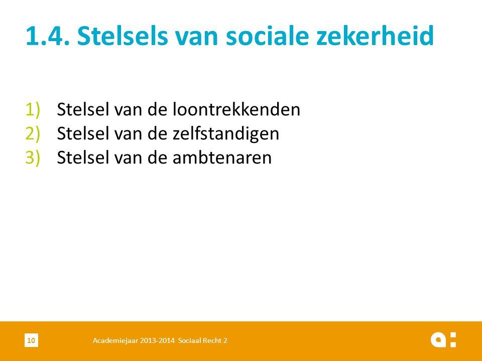 Academiejaar 2013-2014 Sociaal Recht 210 1)Stelsel van de loontrekkenden 2)Stelsel van de zelfstandigen 3)Stelsel van de ambtenaren 1.4. Stelsels van