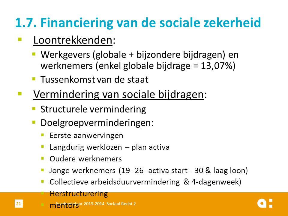Academiejaar 2013-2014 Sociaal Recht 221  Loontrekkenden:  Werkgevers (globale + bijzondere bijdragen) en werknemers (enkel globale bijdrage = 13,07